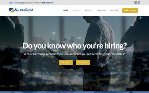 Screenshot of Home Page xpresschek.com - Home - XpressChek Inc. | XpressChek before you hire! - captured Aug. 11, 2016