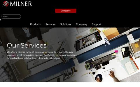 Screenshot of Services Page milner.com - Business Technology Consulting Services | IT, Print & Communication - captured Oct. 24, 2018