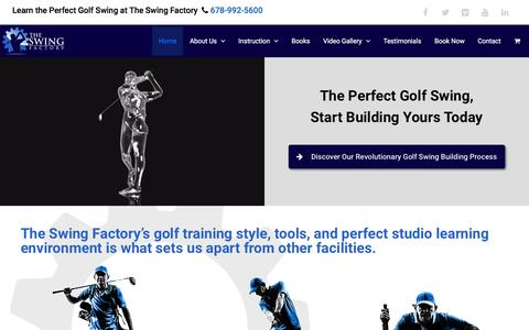 Screenshot of Home Page swingfactory.com - Golf Instruction & Virtual Golf Driving Range in Roswell, GA | The Swing Factory - captured Nov. 17, 2017