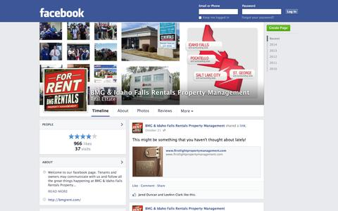 Screenshot of Facebook Page facebook.com - BMG & Idaho Falls Rentals Property Management - Idaho Falls, ID - Real Estate   Facebook - captured Oct. 23, 2014