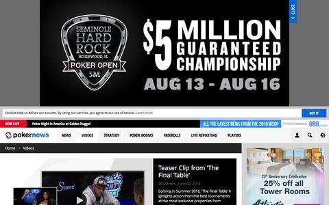 Screenshot of pokernews.com - Online Poker Videos. Tournaments, strategy and webcasts | PokerNews - captured June 4, 2016