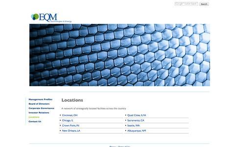 Screenshot of Locations Page eqm.com - EQM Technologies & Energy - Locations - captured Oct. 2, 2014
