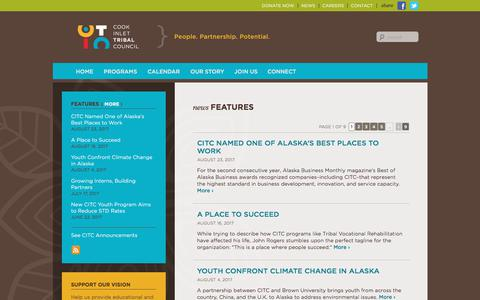 Screenshot of Press Page citci.org - Features | Cook Inlet Tribal Council - captured Aug. 26, 2017