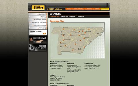 Screenshot of Locations Page liftone.net - LiftOne Locations - Asheville, Charlotte, Greensboro, Hickory, Monroe, Columbia, Greenville, Roanoke | Lift One - captured Oct. 2, 2014