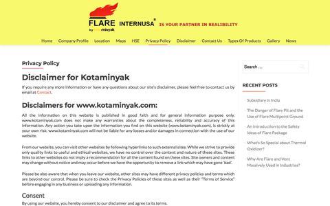 Screenshot of Privacy Page kotaminyak.com - Privacy Policy – Kotaminyak - captured Sept. 20, 2018