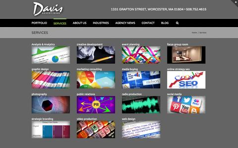 Screenshot of Services Page davisad.com - Services | Web Design, Branding, Photography, Video Production, Radio and More | Davis Advertising - captured Oct. 5, 2014