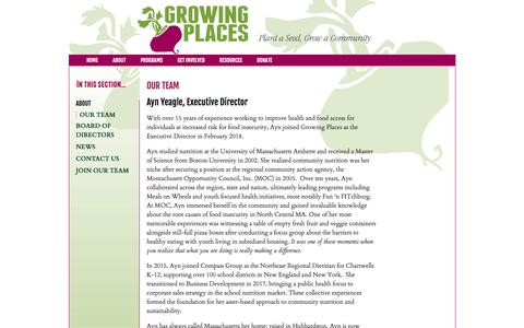 Screenshot of Team Page growingplaces.org - Growing Places Gardening Project - captured July 25, 2018
