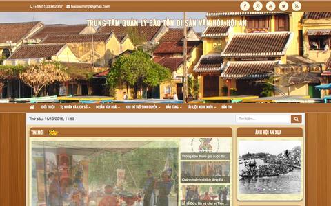 Screenshot of Home Page hoianheritage.net - Đô thị cổ Hội An - Di sản Văn hoá Thế giới - captured Oct. 16, 2015