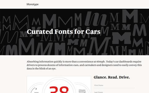 Screenshot of Landing Page monotype.com - Cars Curated Font Collection   Monotype - captured Oct. 23, 2016