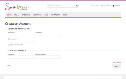Screenshot of Signup Page sushihaven.co.uk - Sushi Haven |  Create New Customer Account - captured Sept. 30, 2014