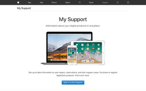 Screenshot of Support Page apple.com - My Support - Official Apple Support - captured July 11, 2018