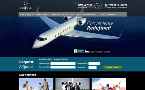 Screenshot of Home Page evojets.com - Private Jet Charter Flights – Aspen and New York Air Charter with evoJets - captured Jan. 26, 2015