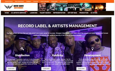 Screenshot of Home Page morgeez.com - Record Label | Music Distribution | Talent Management - captured Oct. 20, 2018