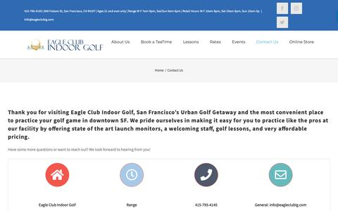 Screenshot of Contact Page eagleclubig.com - Driving Range, Golf Instruction & Lessons, San Francisco Golf Course | Contact - captured Sept. 26, 2018