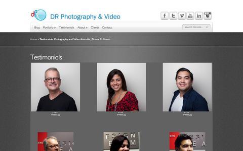 Screenshot of Testimonials Page duanerobinson.com.au - Testimonials Photography and Video Australia | Duane Robinson - captured Oct. 5, 2014
