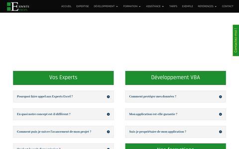 Screenshot of FAQ Page experts-excel.com - FAQ des Experts Excel - toutes nos réponses à vos questions - captured Oct. 2, 2018