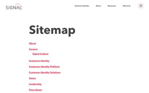 Screenshot of Site Map Page signal.co - Sitemap - Signal - captured Sept. 22, 2017