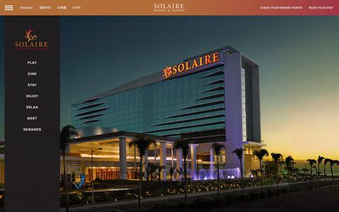 Screenshot of Home Page solaireresort.com - Solaire Resort and Casino in Entertainment City Manila - captured Sept. 19, 2014