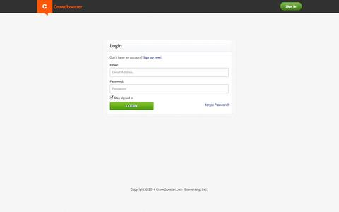 Screenshot of Login Page crowdbooster.com - Crowdbooster Login: Social Media Marketing Analytics and Optimization - captured Sept. 13, 2014