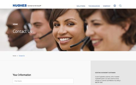 Screenshot of Contact Page hughes.com - Contact | Hughes | HUGHES Corporate - captured Nov. 12, 2016