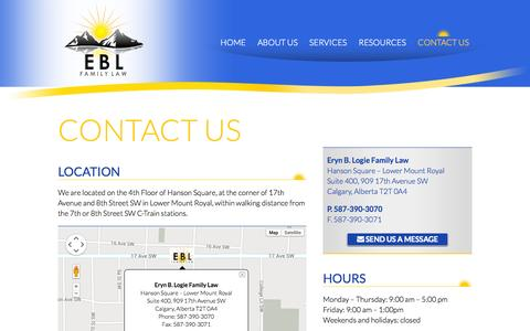 Screenshot of Contact Page eblfamilylaw.com - Contact Us | Eryn B. Logie Family Law | Calgary Divorce Lawyer - captured Oct. 3, 2014