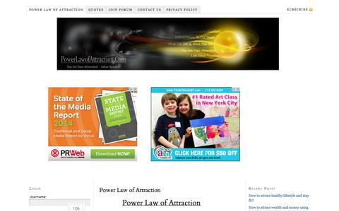 Screenshot of Home Page powerlawofattraction.com - What is Law of Attraction And How To Apply it, INSTANTLY? - captured Sept. 19, 2014