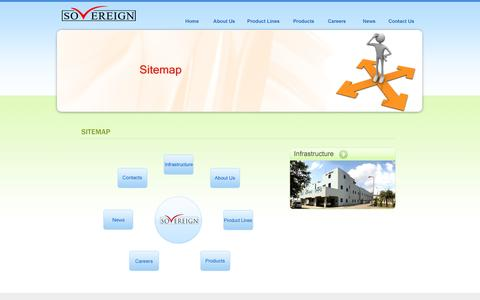 Screenshot of Site Map Page sovereignpharma.net - : Welcome To SOVEREIGN PHARMA PVT.LTD : - captured Oct. 3, 2014