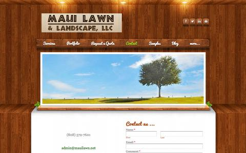 Screenshot of Contact Page mauilawn.net - Contact - Maui  Lawn & Landscape,  LLC - captured Oct. 27, 2014