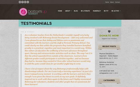 Screenshot of Testimonials Page bottomup.org.za - Testimonials | Bottomup - captured Oct. 9, 2014