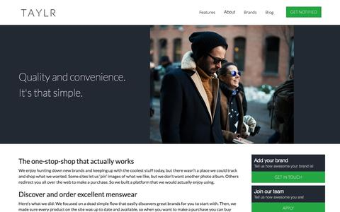 Screenshot of About Page taylr.co - TAYLR – e-commerce that fits men's shopping habits - captured Oct. 26, 2014