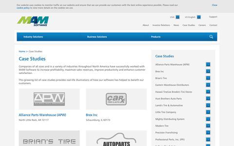 Screenshot of Case Studies Page mamsoftware.com - Case Studies - Auto Parts Inventory Management Software   MAM Software - captured Nov. 12, 2018