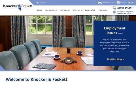 Screenshot of Home Page knocker-foskett.co.uk - Solicitors & Lawyers in Sevenoaks   Knocker & Foskett Kent Solicitors                Knocker & Foskett - captured Nov. 6, 2018