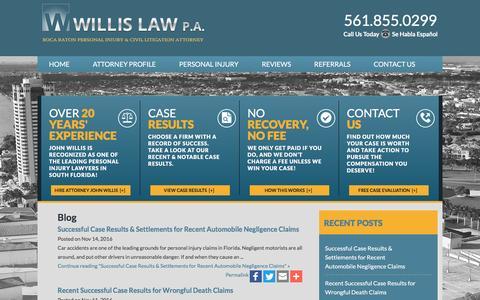 Screenshot of Blog willislaw.com - Boca Raton Personal Injury Attorney Blog   Boca Raton Personal Injury Lawyer - captured Dec. 3, 2016