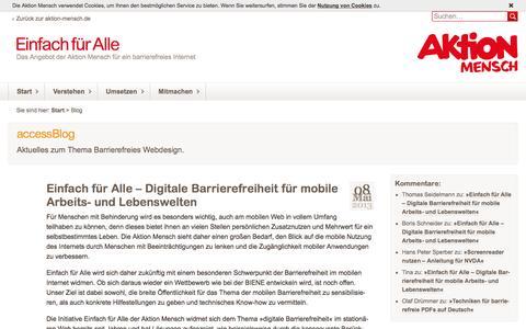 Screenshot of Blog einfach-fuer-alle.de - AccessBlog - Nachrichten über Barrierefreies Webdesign: Einfach für Alle - captured Dec. 1, 2016