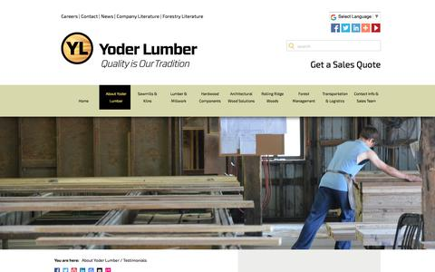 Screenshot of Testimonials Page yoderlumber.com - Testimonials - captured Oct. 26, 2017