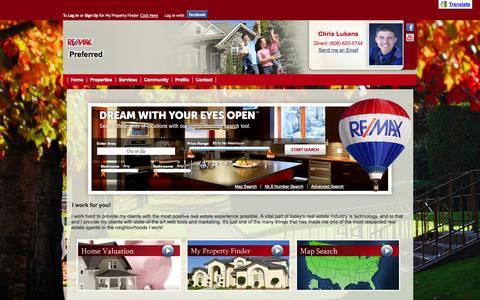 Screenshot of Home Page chrislukenshomes.com - RE/MAX Preferred - Chris Lukens | Preferred Home Sales & Construction | Madison area Real Estate - captured Oct. 2, 2014