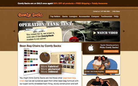 Screenshot of Home Page comfysacks.com - Bean Bag Chairs: Bean Bags & Bean Bag Furniture - Get Comfy With Comfy Sacks - captured Sept. 25, 2014