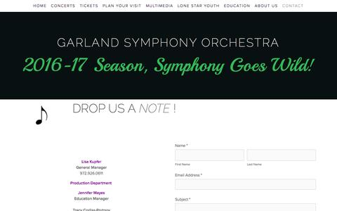 Screenshot of Contact Page garlandsymphony.org - Contact — GARLAND SYMPHONY ORCHESTRA - captured July 11, 2016