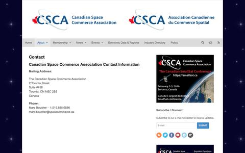 Screenshot of Contact Page spacecommerce.ca - Contact | The Canadian Space Commerce Association - captured Jan. 25, 2016
