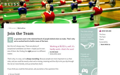 Screenshot of Jobs Page thisisbliss.com - Work with us | BLISS Manchester - captured Oct. 4, 2014
