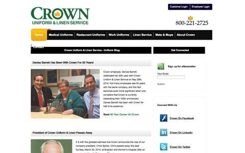 Screenshot of Blog crownuniform.com - Uniform Blog | Uniform News | Crown Uniform & Linen Service - captured Oct. 3, 2014