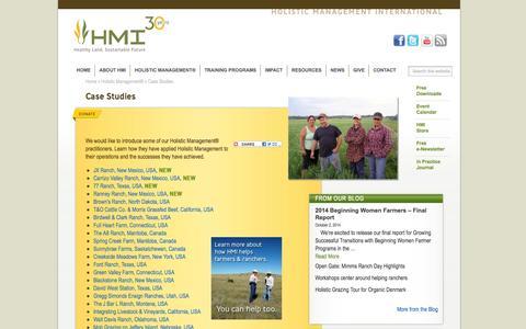 Screenshot of Case Studies Page holisticmanagement.org - Case Studies - Holistic Management International - captured Oct. 3, 2014