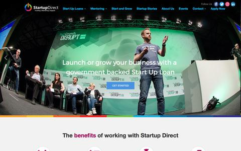 Screenshot of Home Page startupdirect.org - Launch or grow your business with a government backed Start Up Loan - captured June 17, 2017