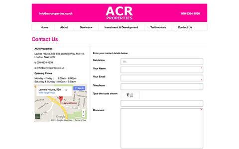 Screenshot of acrproperties.co.uk - Contact Us «  acrproperties - captured Aug. 5, 2015