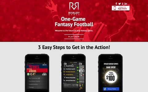 Screenshot of Home Page rivalrygames.com - Rivalry Games | One-Game Fantasy Sports - captured Oct. 7, 2014
