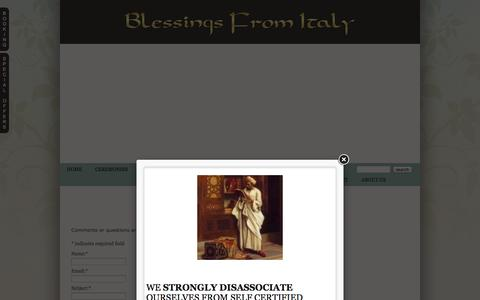 Screenshot of Contact Page blessingsfromitaly.com - Contact us » Blessings from Italy – The Official Website for Wedding Officiant and Symbolic Ceremonies in Italy - captured Sept. 30, 2014