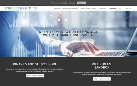 Screenshot of Developers Page millistream.com - Developers - Millistream - captured April 19, 2018