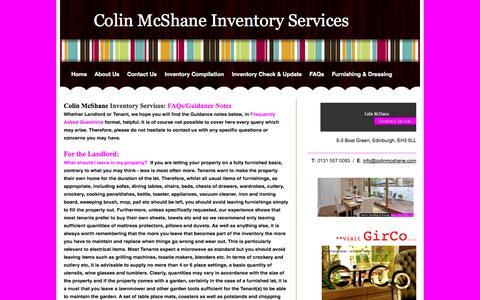 Screenshot of FAQ Page colinmcshane.com - FAQs - Colin McShane Inventory Services - captured Oct. 1, 2014