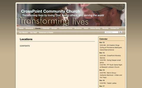 Screenshot of Locations Page icrosspoint.com - Locations | CrossPoint Community Church - captured Nov. 12, 2016