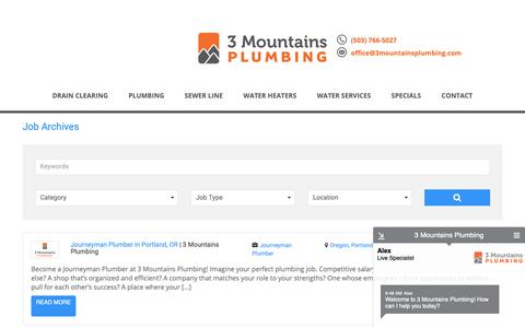 Screenshot of Jobs Page 3mountainsplumbing.com - Jobs Archive - 3 Mountains Plumbing - captured Nov. 7, 2018
